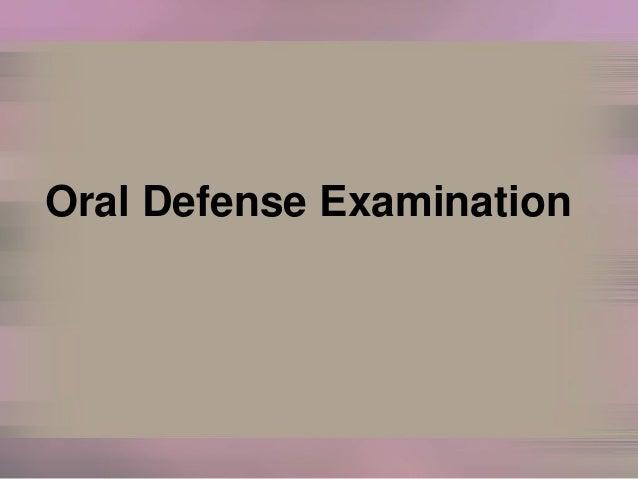 Oral Defense Examination
