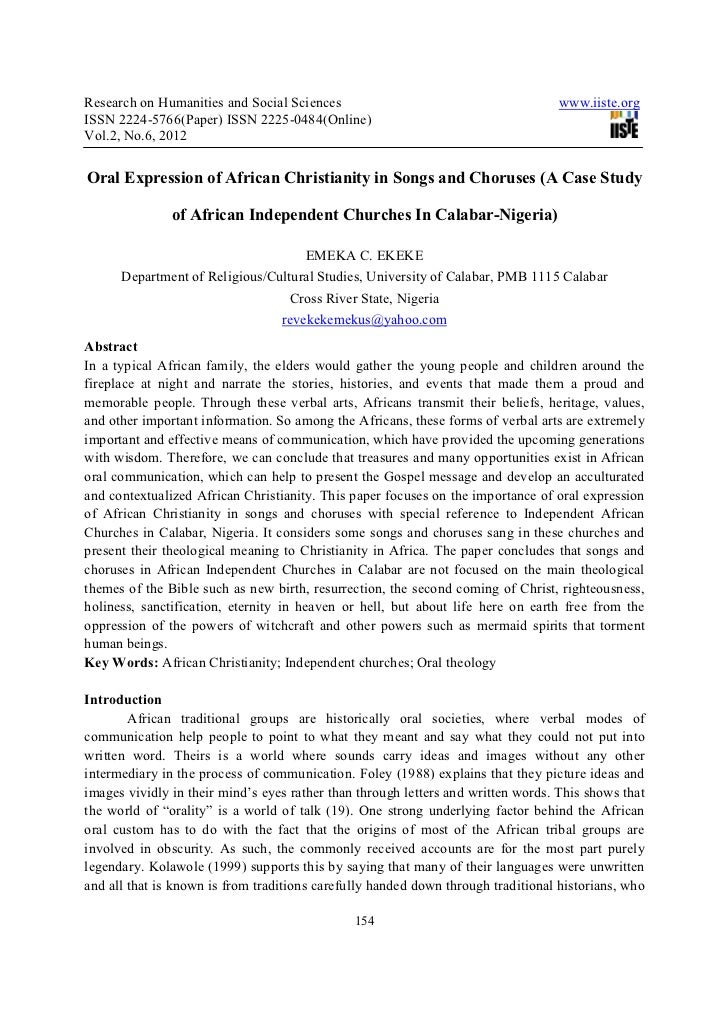 Oral expression of african christianity in songs and choruses (a case study of african independent churches in calabar nigeria)