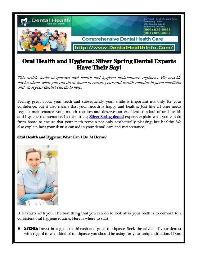Oral Health and Hygiene: Silver Spring Dental Experts Have Their Say