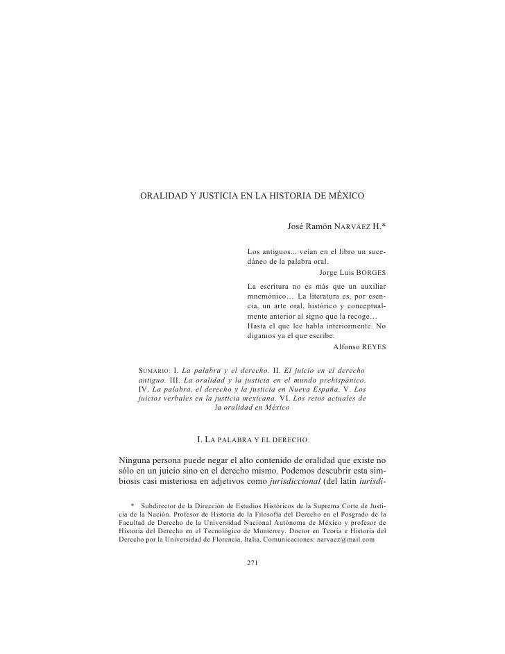 ORALIDAD Y JUSTICIA EN LA HISTORIA DE MÉXICO                                                         José Ramón NARVÁEZ H....