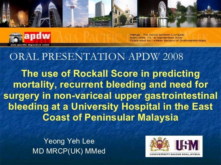 Rockall score in non-variceal upper gastrointestinal bleeding