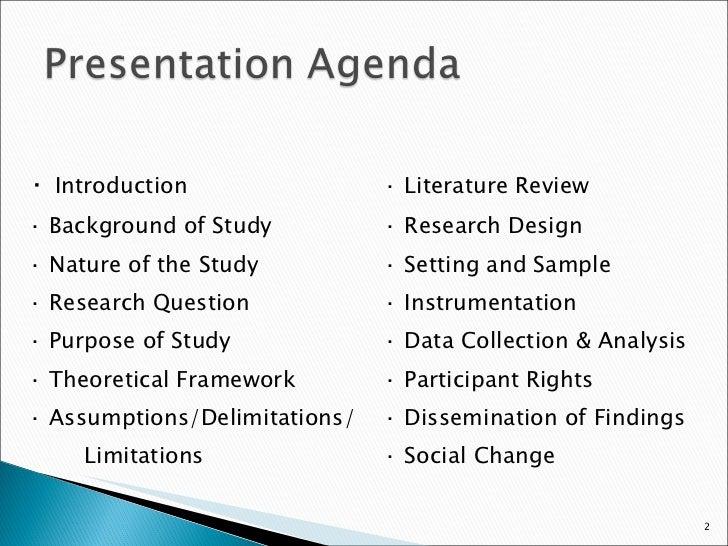 Dissertation proposal oral presentation