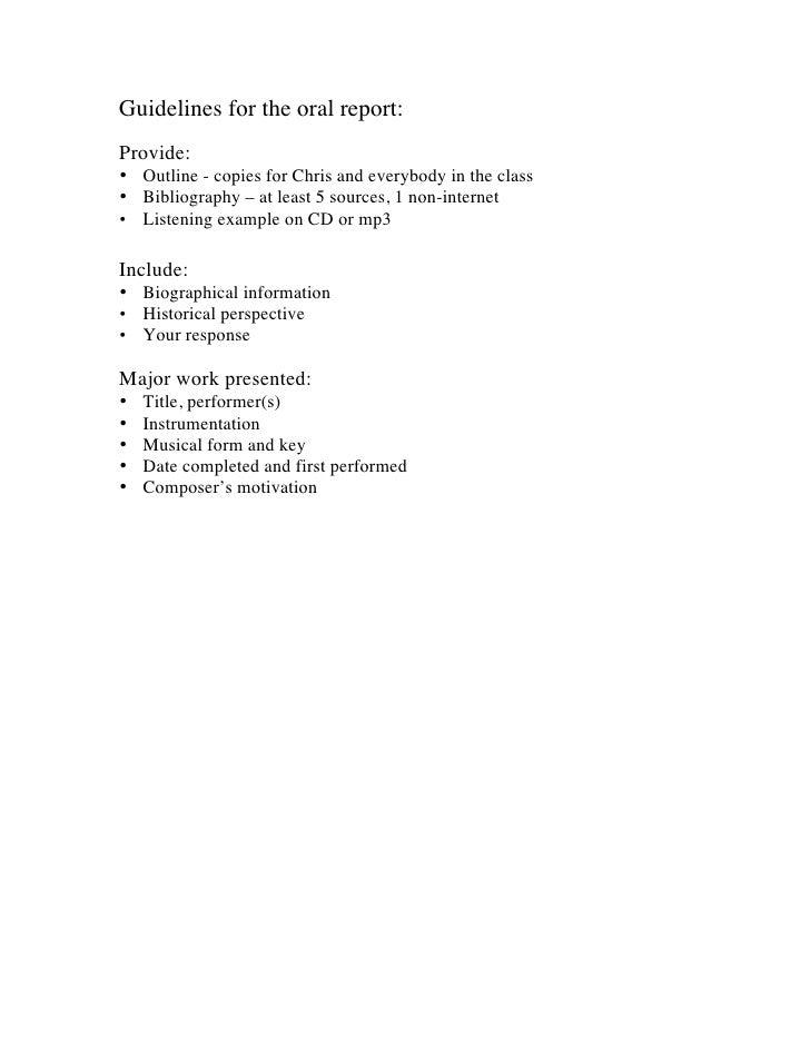 Oral Report Regs