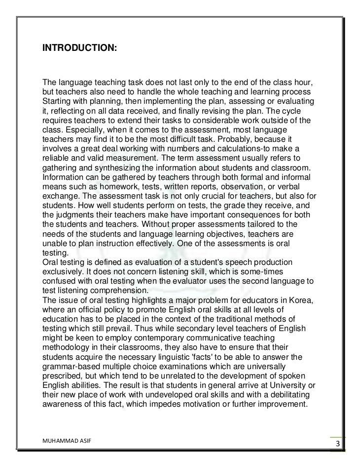 example english oral essay