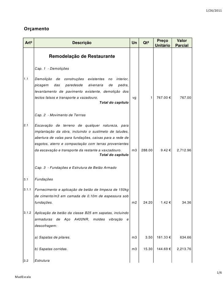 1/26/2011     Orçamento                                                                                            Preço  ...