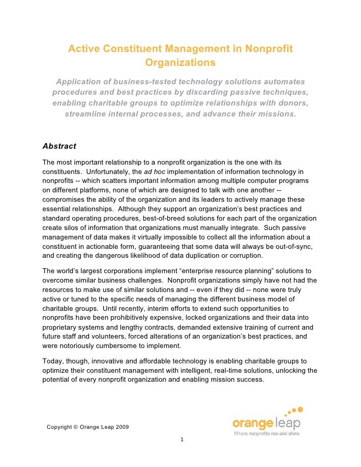 Active Constituent Management in Nonprofit                        Organizations     Application of business-tested technol...