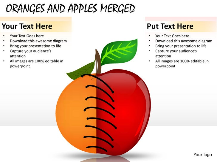 ORANGES AND APPLES MERGEDYour Text Here                        Put Text Here•   Your Text Goes here               •   Your...