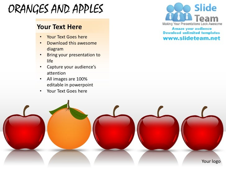 ORANGES AND APPLES     Your Text Here     •   Your Text Goes here     •   Download this awesome         diagram     •   Br...