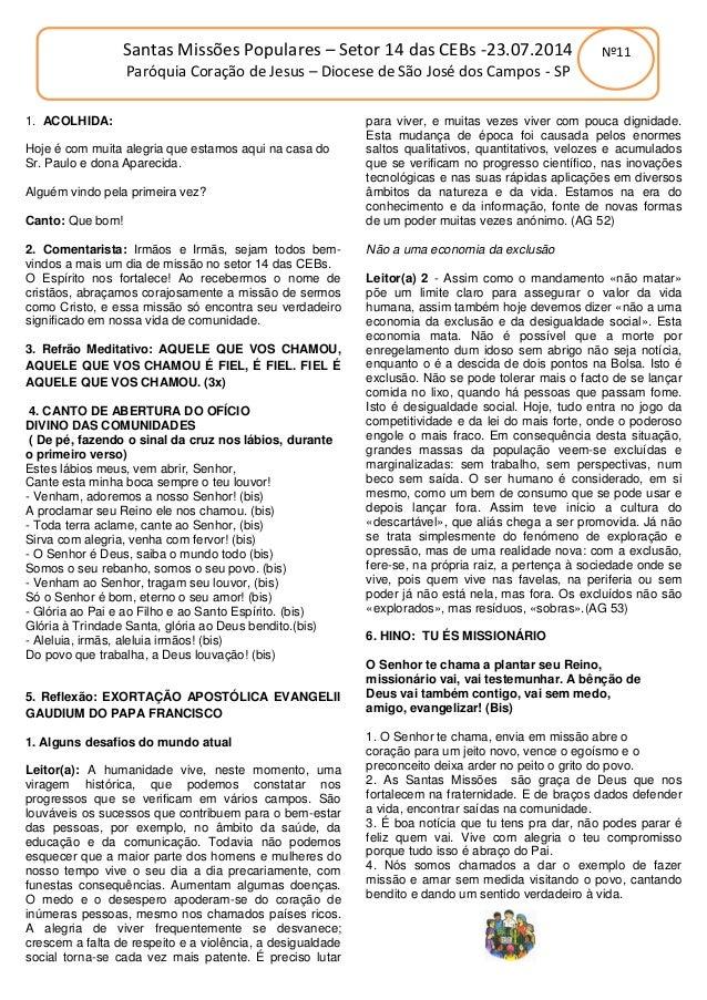 Oração da manhã setor 14 das CEBs   23 julho 2014