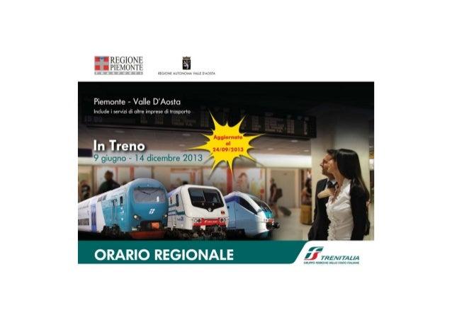 Orario regionale treni Piemonte e Valle d'Aosta dal 9 giugno al 14 dicembre 2013