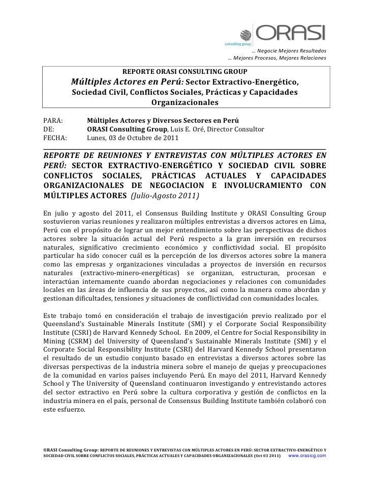ORASI  REPORTE MULTIPLES ACTORES PERU JUL AGO 2011 Y ANEXOS