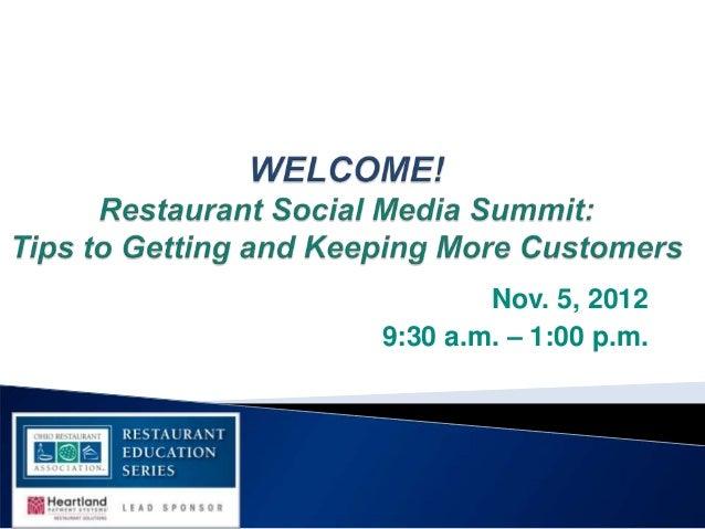 ORA Restaurant Education Series Social Media Summit