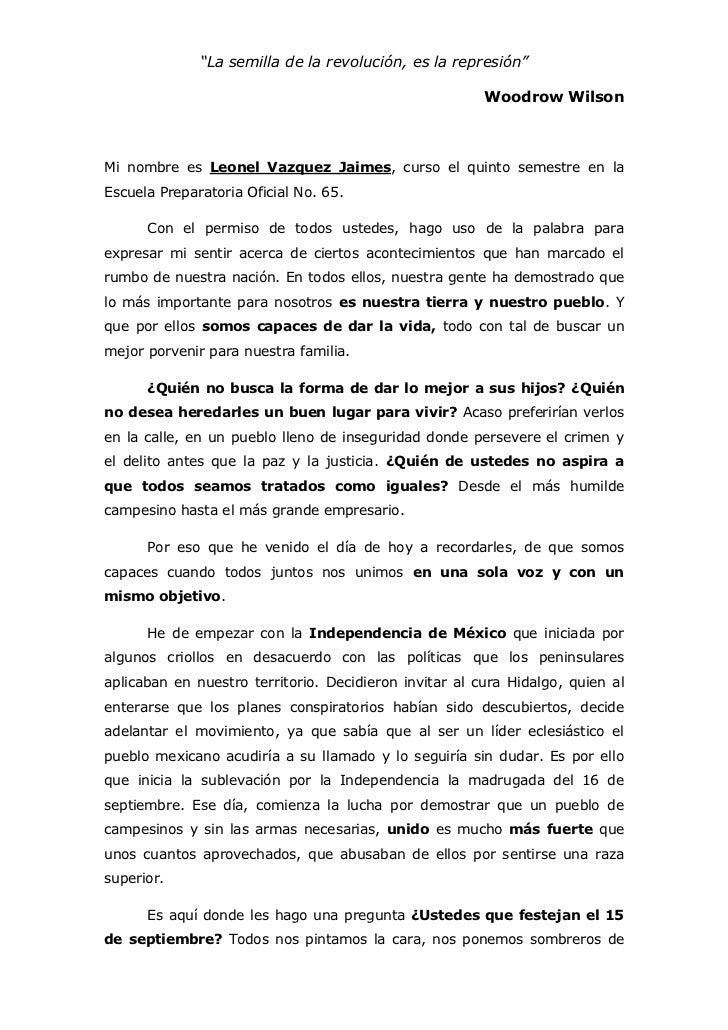 """""""La semilla de la revolución, es la represión""""<br />Woodrow Wilson<br />Mi nombre es Leonel Vazquez Jaimes, curso el quint..."""