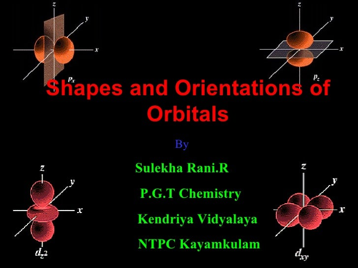 Shapes and Orientations of Orbitals By Sulekha Rani.R P.G.T Chemistry Kendriya Vidyalaya  NTPC Kayamkulam