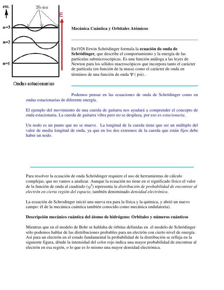 Mecánica Cuántica y Orbitales Atómicos <br />En1926 Erwin Schrödinger formula la ecuación de onda de Schrödinger, que desc...