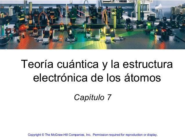 Teoría cuántica y la estructura  electrónica de los átomos                                 Capítulo 7 Copyright © The McGr...
