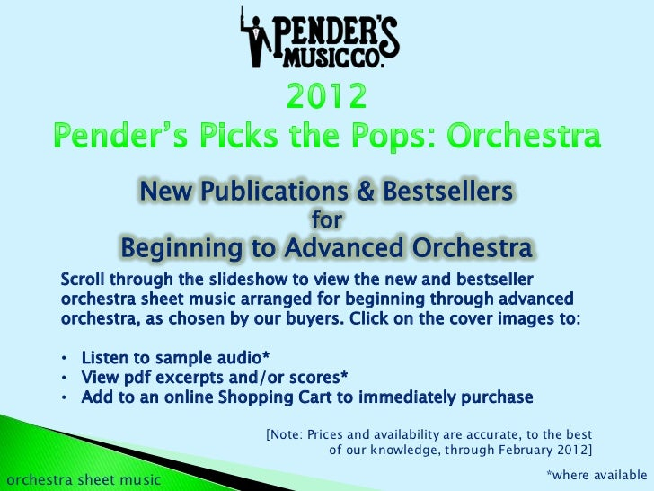 Pender's Picks the Pops 2012 | Orchestra Sheet Music