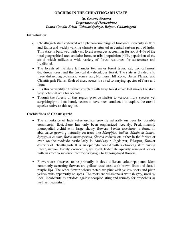 ORCHIDS IN THE CHHATTISGARH STATE                                      Dr. Gaurav Sharma                                De...