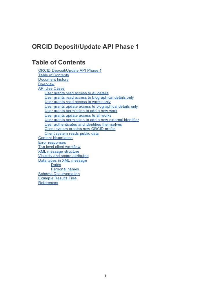 ORCID Deposit/Update API Phase 1Table of Contents  ORCID Deposit/Update API Phase 1  Table of Contents  Document history  ...