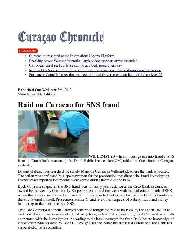 Orco Bank Aruba Bank's parent Bank raided