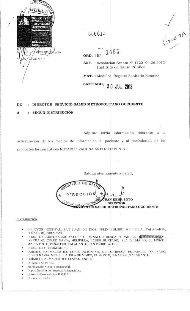 Ord. nº 1465 ssmo modifica registro sanitario rotarix r