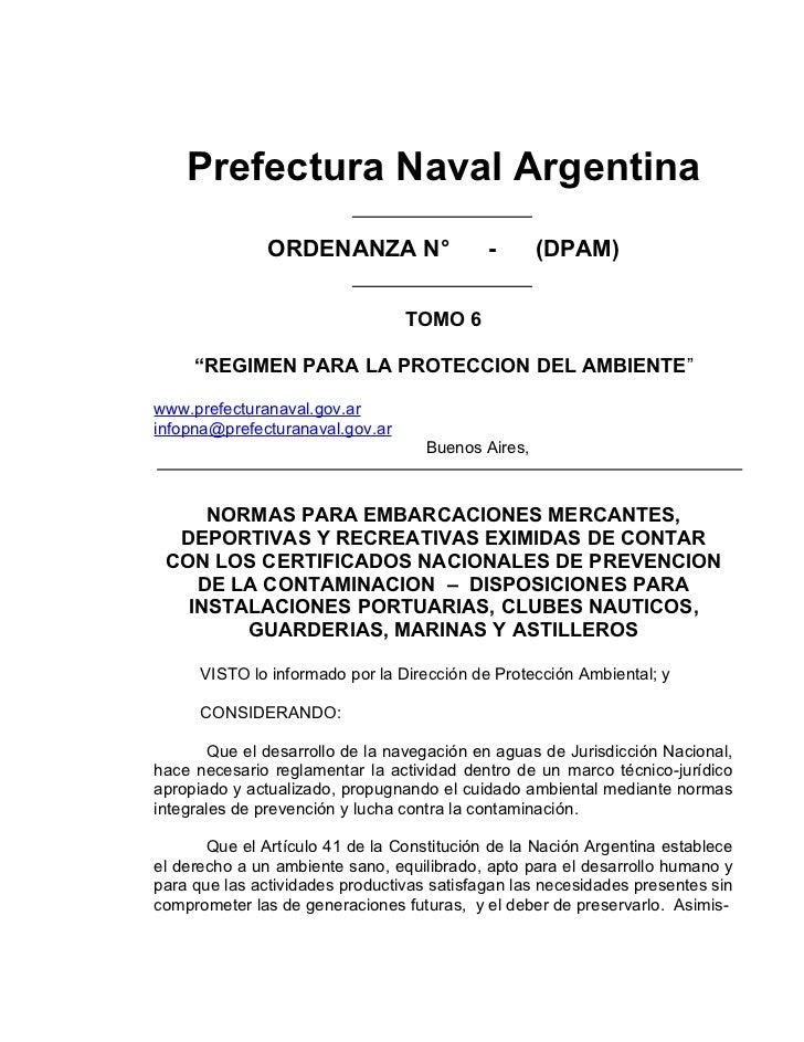 Prefectura Naval Argentina               ORDENANZA N°                 -       (DPAM)                                 TOMO ...