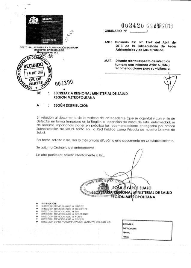 Ord. nº 3420 seremi de salud  alerta infeccion humana influenza aviar h7 n9