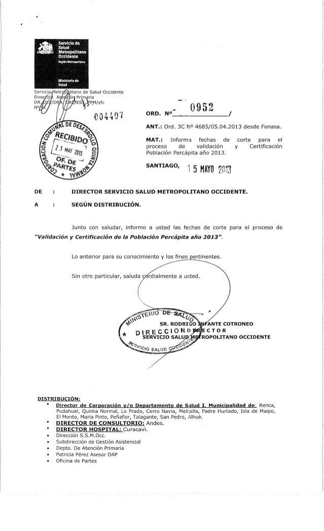 Ord. nº 952  ssmo fechas corte validacion y certificacion percapita 2013