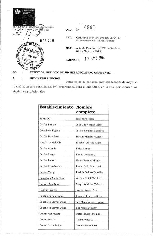 ¿Sértflitiotíe.sMiKf;Mlninwkstkf^ORD. : N°ANT. : Ordinario B 54 N°1305 del 25.04.13Subsecretaría de Salud PúblicaMAT. : Ac...