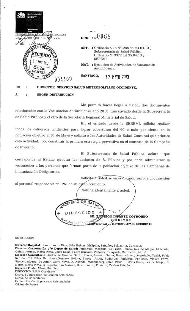 Ord. nº 968  ssmo ejecucion actividades vacunacion antiinfluenza