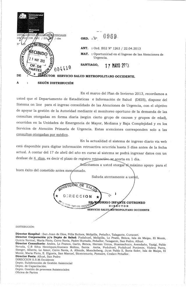 iTENCIALBS/ clm ORD. : Nc MISANT. : Ord. B52 N° 1263 / 22.04.2013MAT. ; Oportunidad en el Ingreso de las Atenciones deUrge...