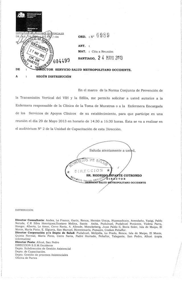 #004490ñ O ft CsORD. : N° V «/ OANT. :MAT. : Cita a Reuniónsantiago, 2 4 HAYO 2013SCTOR SERVICIO SALUD METROPOLITANO OCCID...