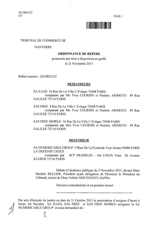 Ordonnance de référé du tribunal de commerce de Nanterre (21/11/2013)