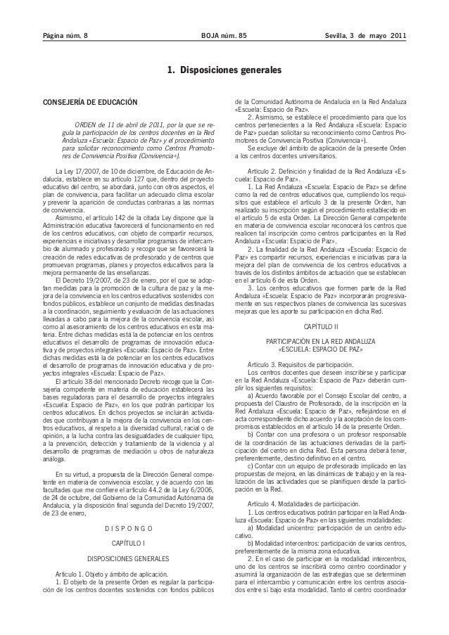 Página núm. 8 BOJA núm. 85 Sevilla, 3 de mayo 2011  1. Disposiciones generales  CONSEJERÍA DE EDUCACIÓN  ORDEN de 11 de ab...