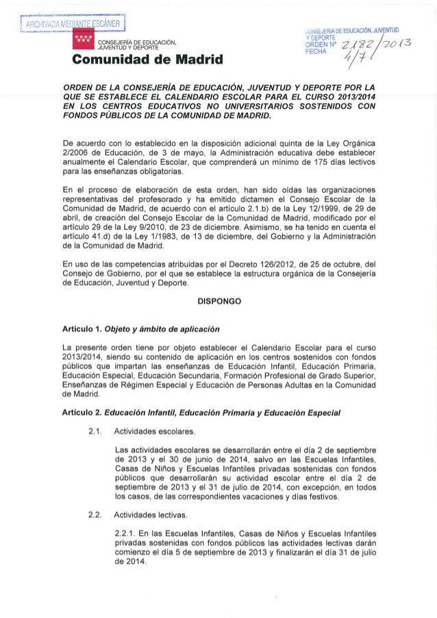CALENDARIO ESCOLAR CURSO 2013/14