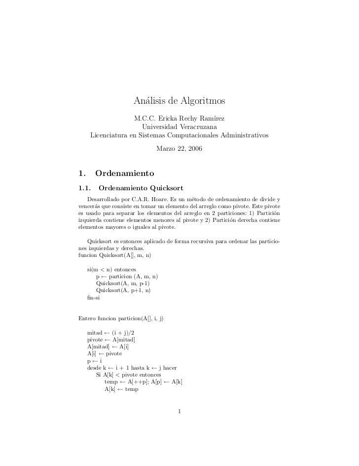 An´lisis de Algoritmos                        a                    M.C.C. Ericka Rechy Ram´ ırez                       Uni...