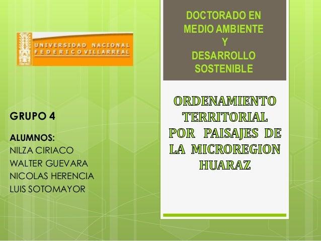DOCTORADO EN MEDIO AMBIENTE Y DESARROLLO SOSTENIBLE ALUMNOS: NILZA CIRIACO WALTER GUEVARA NICOLAS HERENCIA LUIS SOTOMAYOR ...