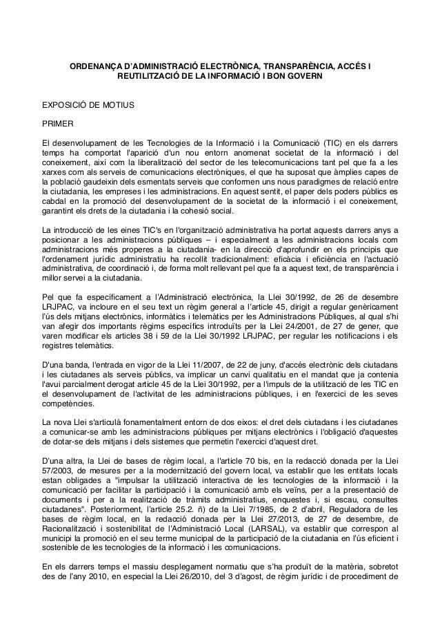 ORDENANÇA D'ADMINISTRACIÓ ELECTRÒNICA, TRANSPARÈNCIA, ACCÉS I REUTILITZACIÓ DE LA INFORMACIÓ I BON GOVERN EXPOSICIÓ DE MOT...