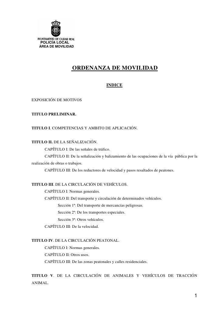 POLICÍA LOCAL    ÁREA DE MOVILIDAD                         ORDENANZA DE MOVILIDAD                                         ...