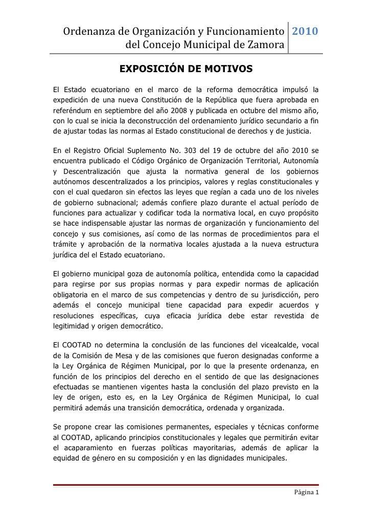 Ordenanza de Organización y Funcionamiento 2010              del Concejo Municipal de Zamora                    EXPOSICIÓN...