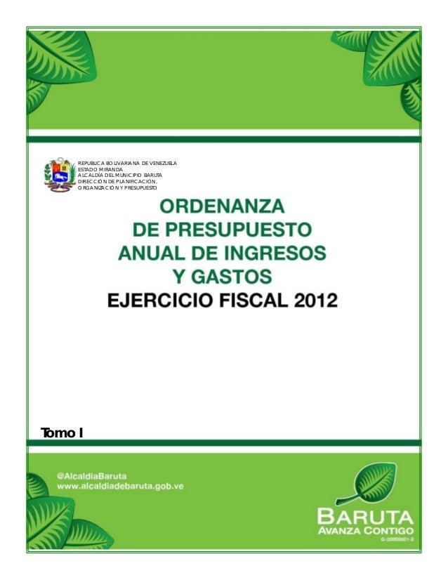 Ordenanza presupuesto 2012_tomo1