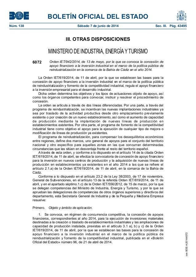 BOLETÍN OFICIAL DEL ESTADO Núm. 138 Sábado 7 de junio de 2014 Sec. III. Pág. 43495 III. OTRAS DISPOSICIONES MINISTERIO D...