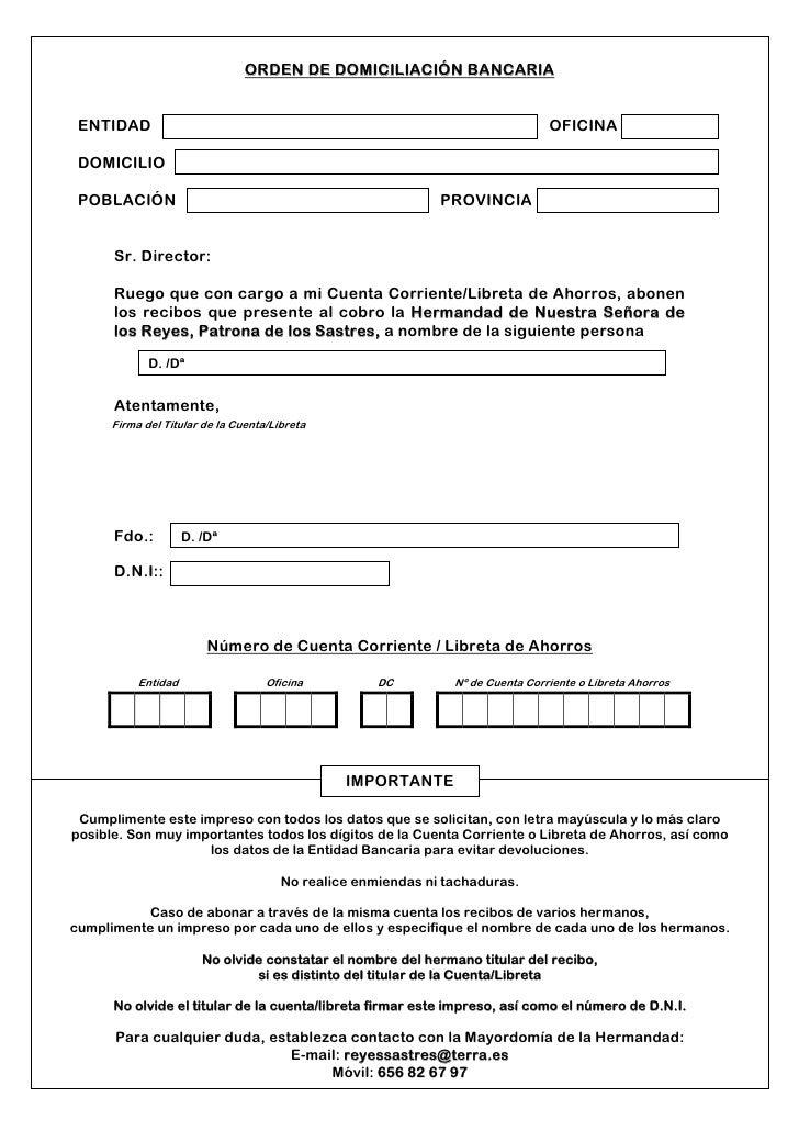 Orden de domiciliaci n bancaria2 for Codigos oficinas bancarias