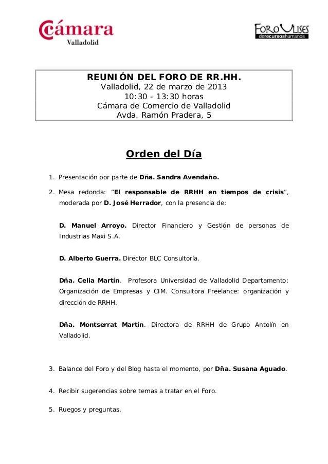 Orden del día foro ulises 22 03-2013