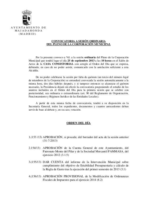 A Y U N T A M I E N T O D E M A J A D A H O N D A ( M A D R I D ) CONVOCATORIA A SESIÓN ORDINARIA DEL PLENO DE LA CORPORAC...