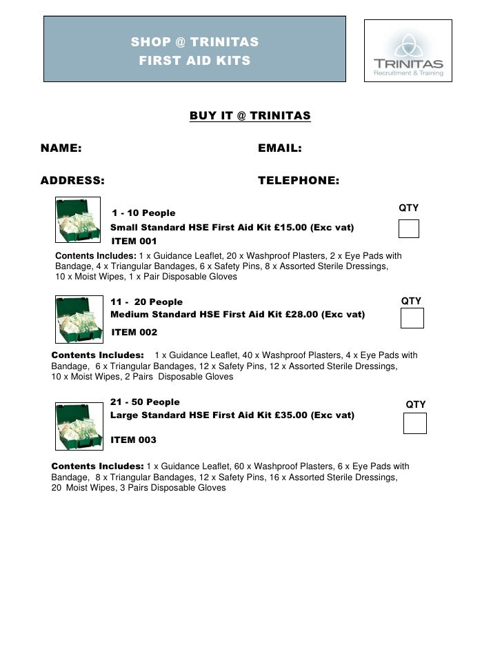 First Aid Order Form