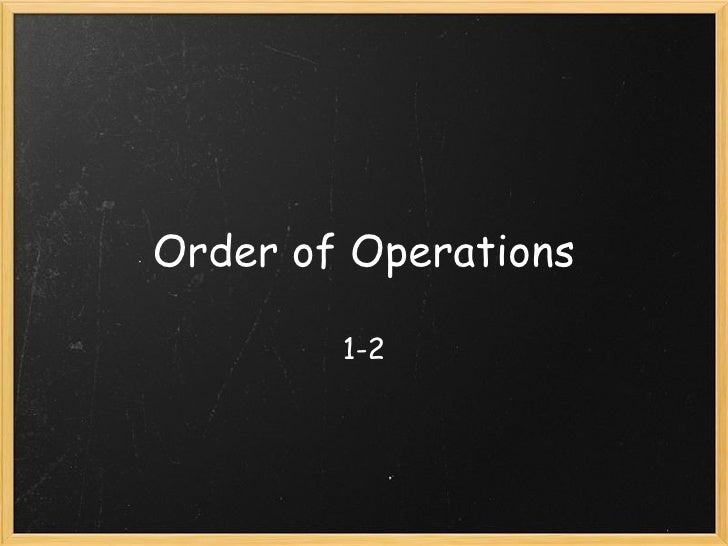 Order of Operations 1-2