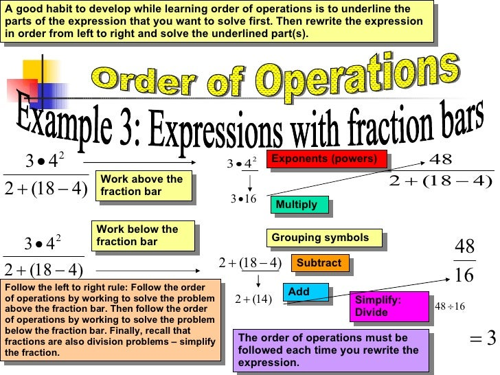 orders of operations worksheets