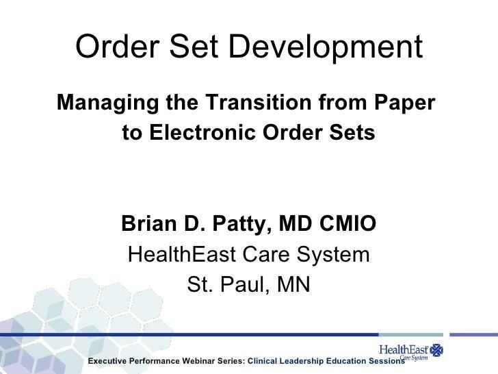 Order Set Development