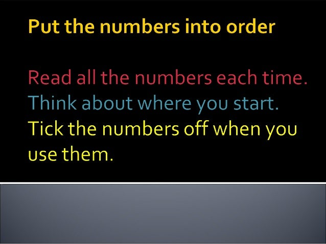 Order the numbers